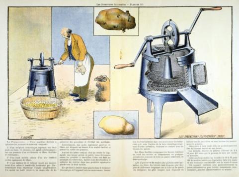 Eksempel på håndfast innovasjon: potetskrellemaskin fra rundt 1900 (photos.com)