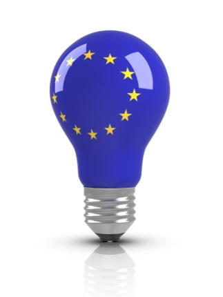 Lyspære med EU-flagg