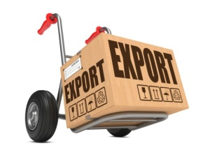 Tralle med kasse merket eksport
