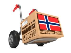 Boks med norske varer for eksport