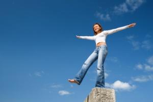 Woman, balancing act