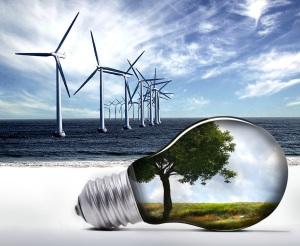 Vindmøller og lyspære som illustrasjon av bærekraftig innovasjon