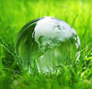 Glassjordklode i gress