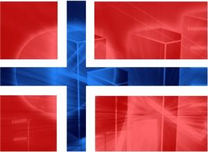 Norsk flagg overlagt graf.