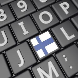 Keyboard med finsk flagg