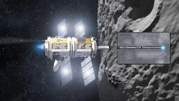 Romskip ved asteroide.