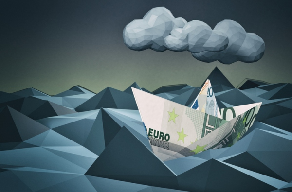 one paper boat made with euro banknotes on a stormy sea, concept of financial crisis, low-poly style (3d render)