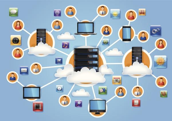 Sky med ulike mennekser, maskiner og applikasjoner.