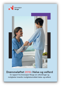 Rapport-omslag. Bilde av sykepleier og barn.
