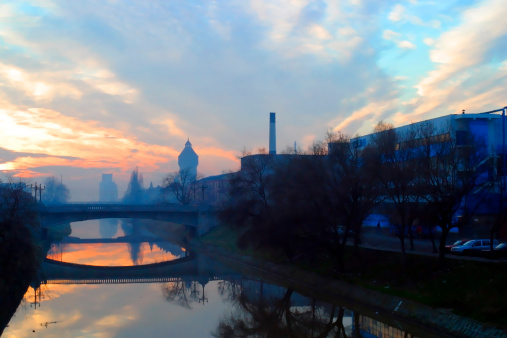 The sun setting over the River, Timisoara, Romania.