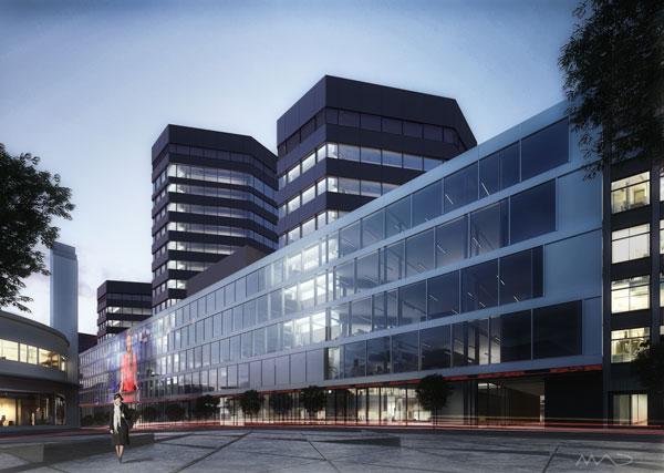 Bilde av det nye mediehuset i Bergen ved arkitektfirmaet MAD og Entra.
